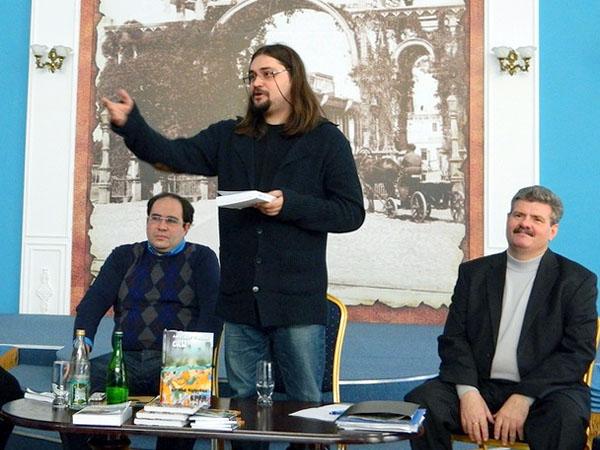 Максим Замшев, Александр Гриценко, Юрий Щербаков на торжествах Астраханского отделения Союза писателей России